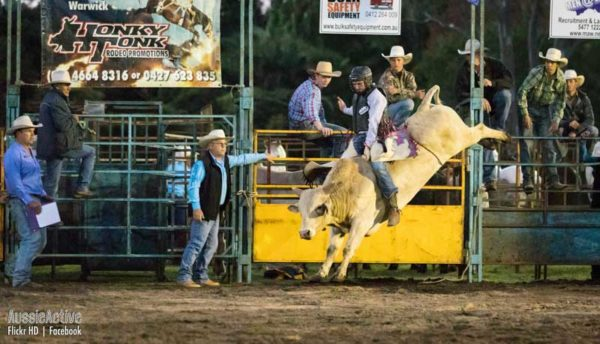 Bull riding at Mooloolah Rodeo